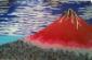 纯手工打造水晶玻璃马赛克剪画日式火山酒店墙画